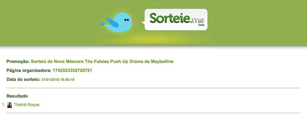 Resultado do Sorteio – Máscara The Falsies Push Up Drama da Maybelline